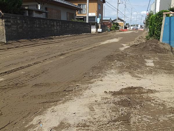 道路上には土砂が堆積している