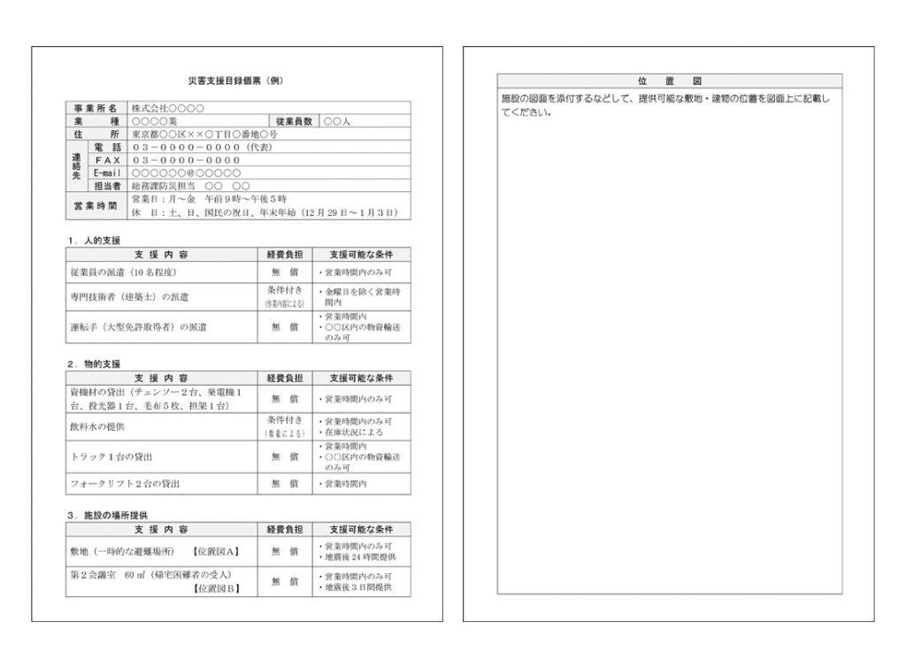 災害支援目録個票(例)